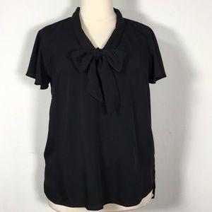 Eloquii 18 v neck pussy bow flutter sleeve blouse